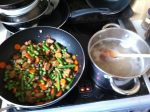 Stir-fry and glass noodles