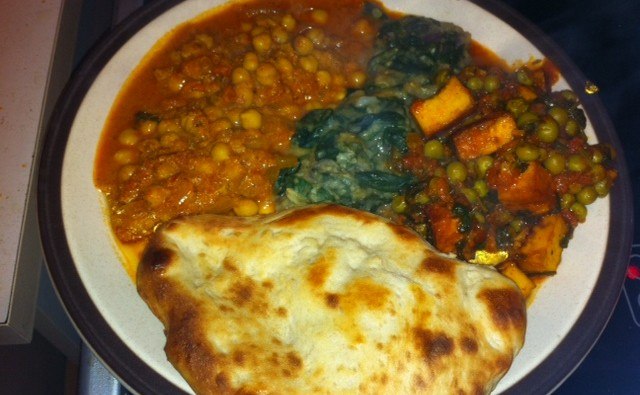 All three curries, and lovely puffy, chewy naan